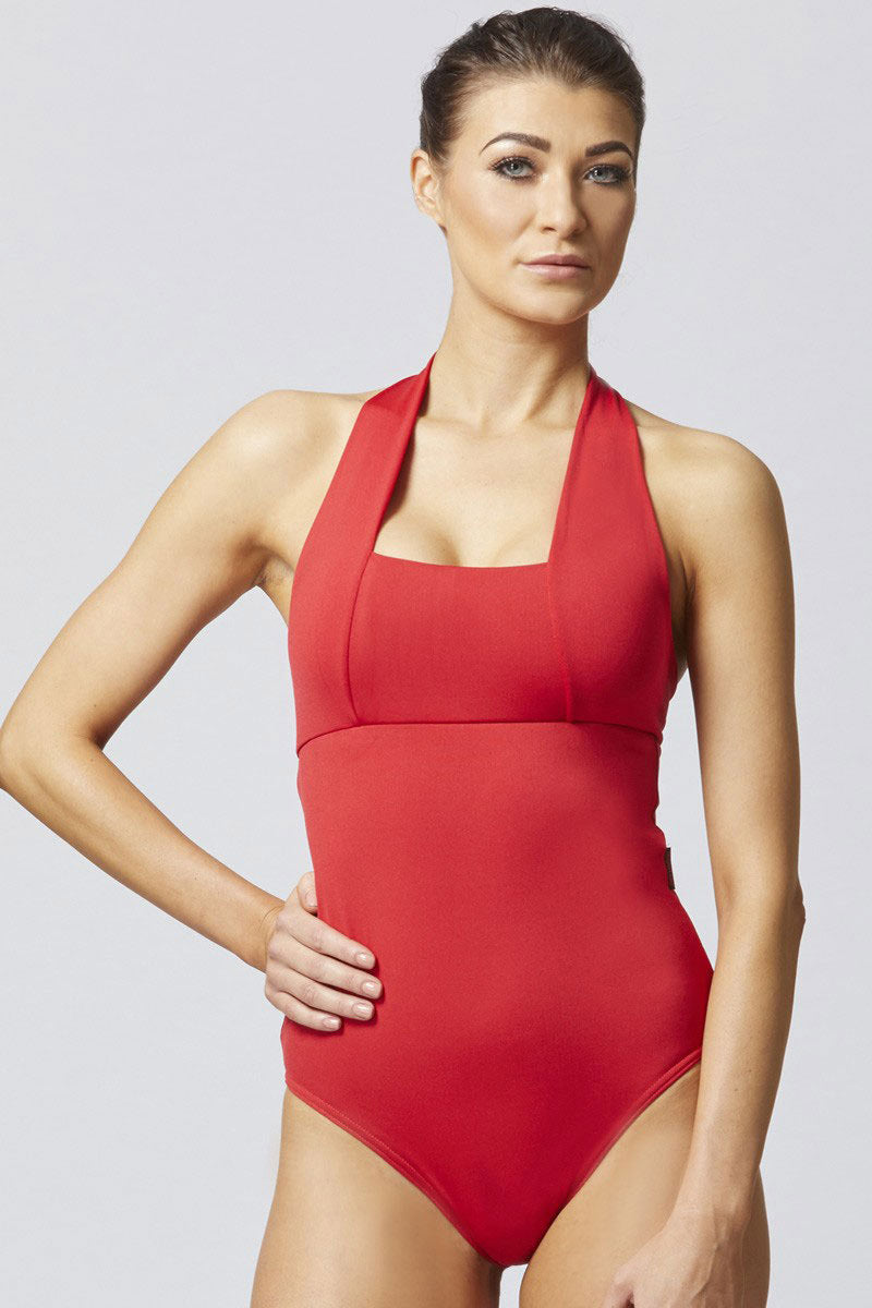 TLC Sport Ladies Control Halter Neck Swimsuit Red