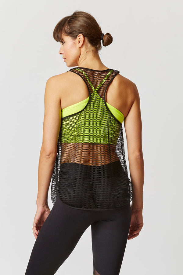 Open Mesh Tunic with Belt Black