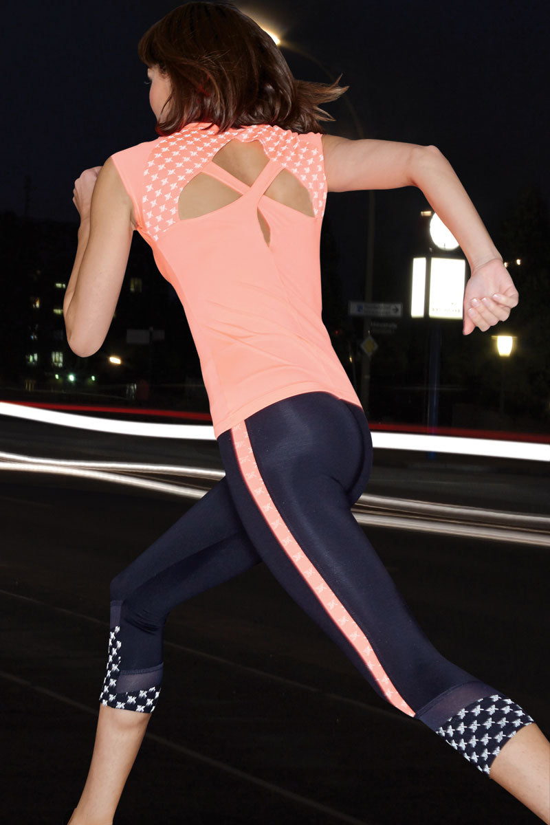 Reflective Running Cap Sleeve T-Shirt with Cut Out Coral