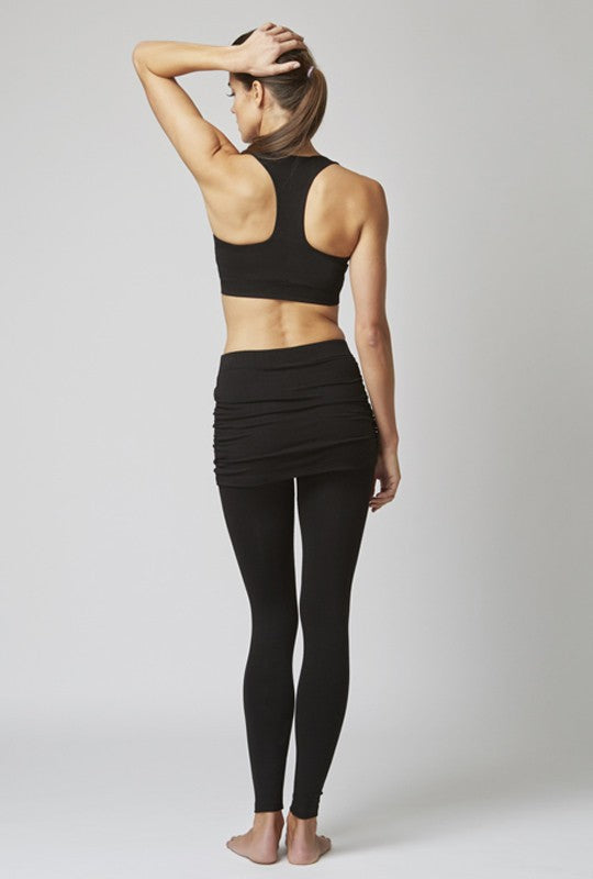 Medium Compression Leggings with Gathered Skirt Black