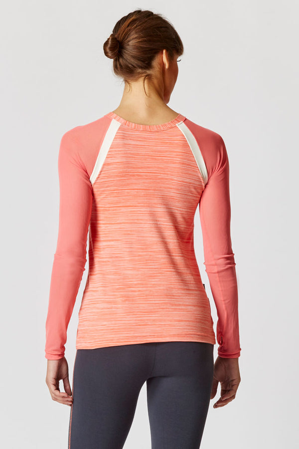 Raglan Mesh Long Sleeve Fitted Gym Top Coral Space-Cream