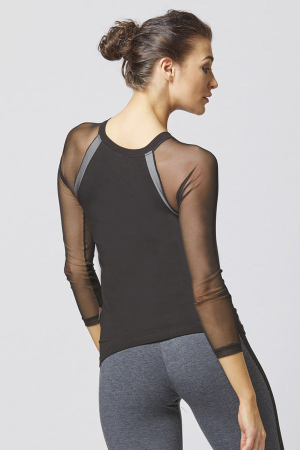 Reversible Raglan Mesh Long Sleeve Yoga Top Black