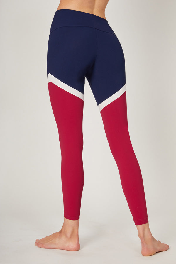 Medium Compression Leggings With Flattering Leg Panels Navy