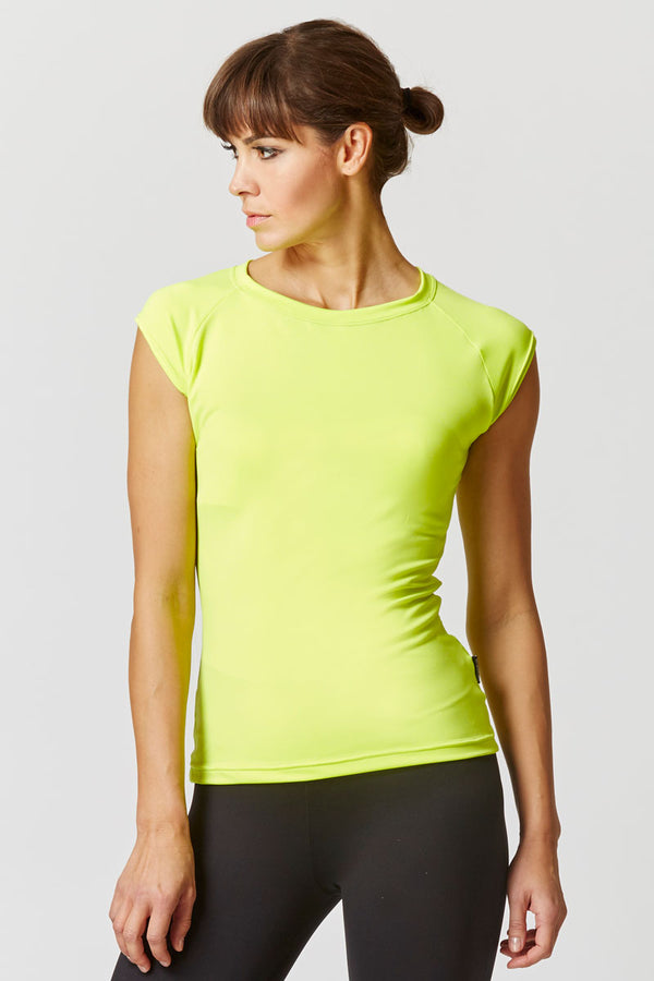 Reflective Running Cap Sleeve T-Shirt with Cut Out Yellow