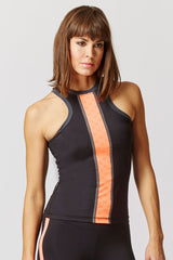 Reversible High Neck Running Vest with Reflective Panel Black-Coral