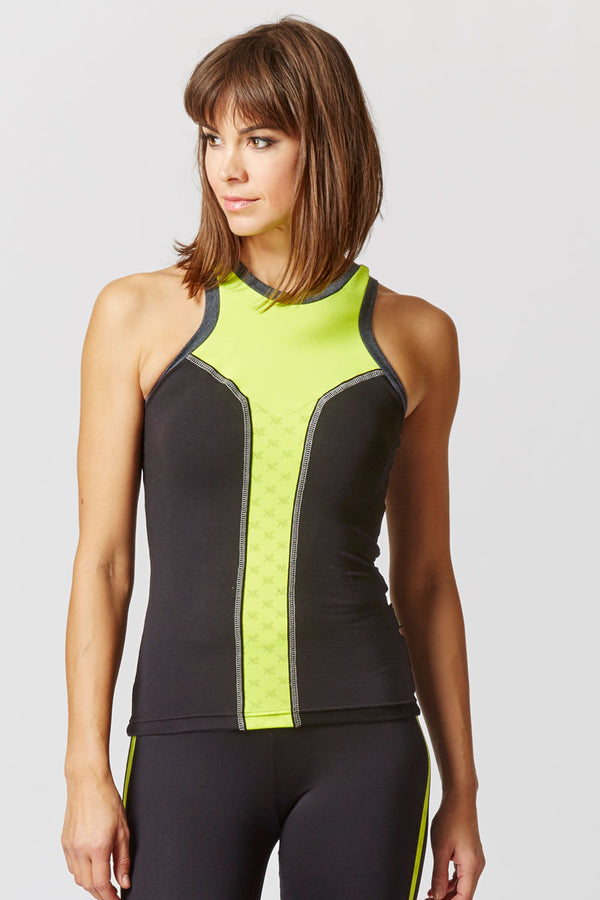 Reversible High Neck Running Vest with Reflective Panel Black-Yellow