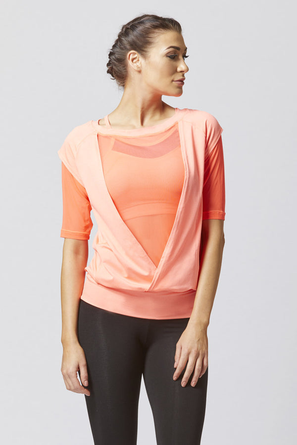 Reversible Mesh Inset Yoga Tee Orange