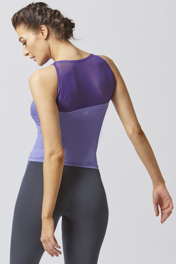 T Panel Mesh Inset Workout Vest Purple