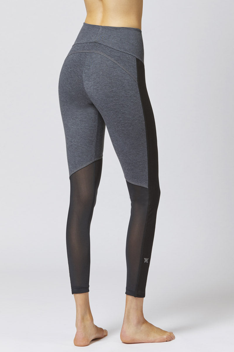 Medium Compression Leggings with Control Mesh Marl Grey