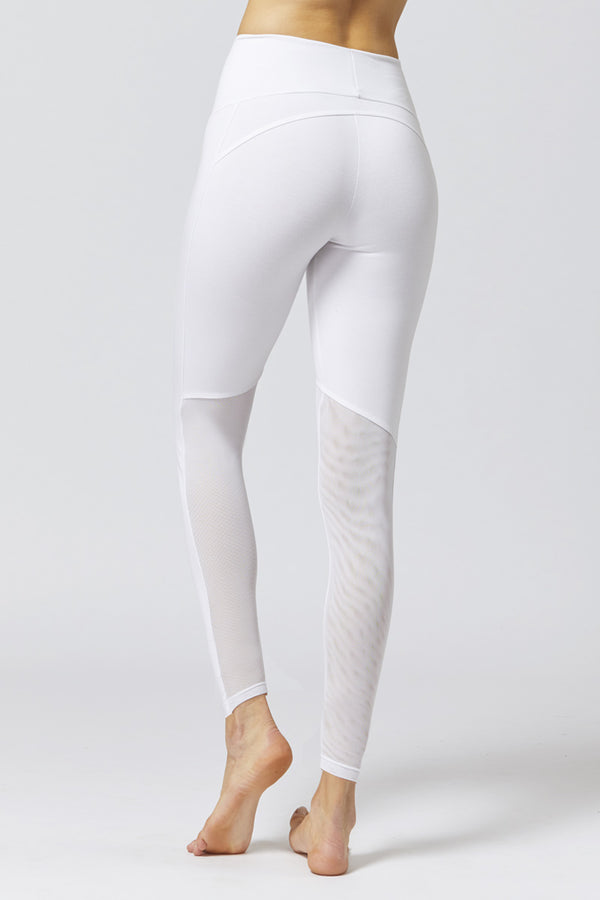 Medium Compression Leggings With Illusion Mesh Bottom White