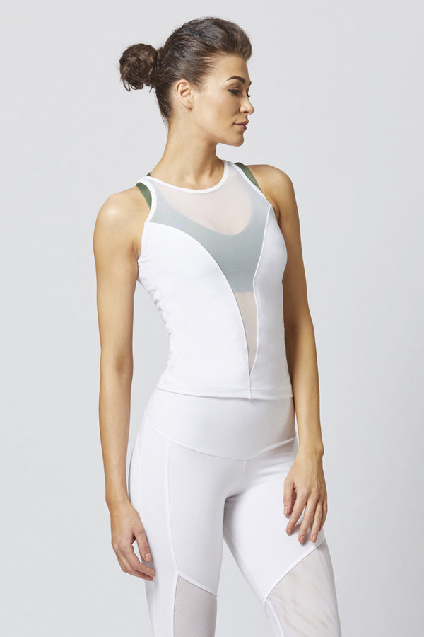 Reversible High Low Mesh Inset Workout Vest White