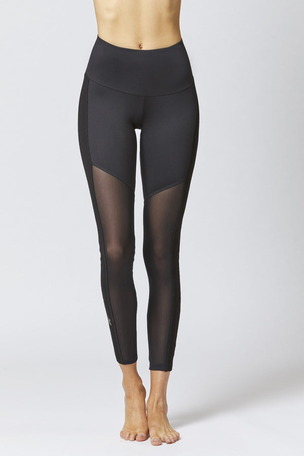 Medium Compression Leggings with Control Mesh Black