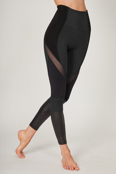Medium Compression Leggings with Mesh Streamline Panel