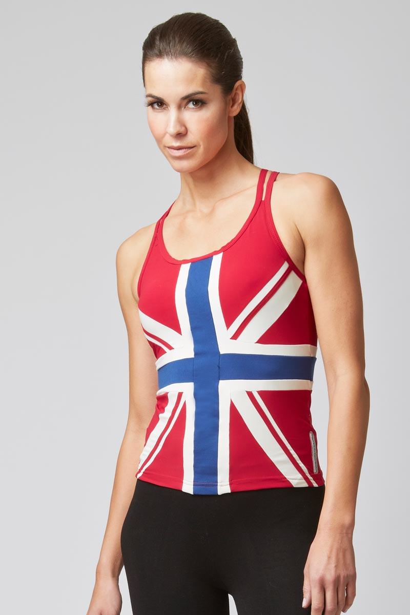 Union Jack Flag Fitted Strap Gym Top Red
