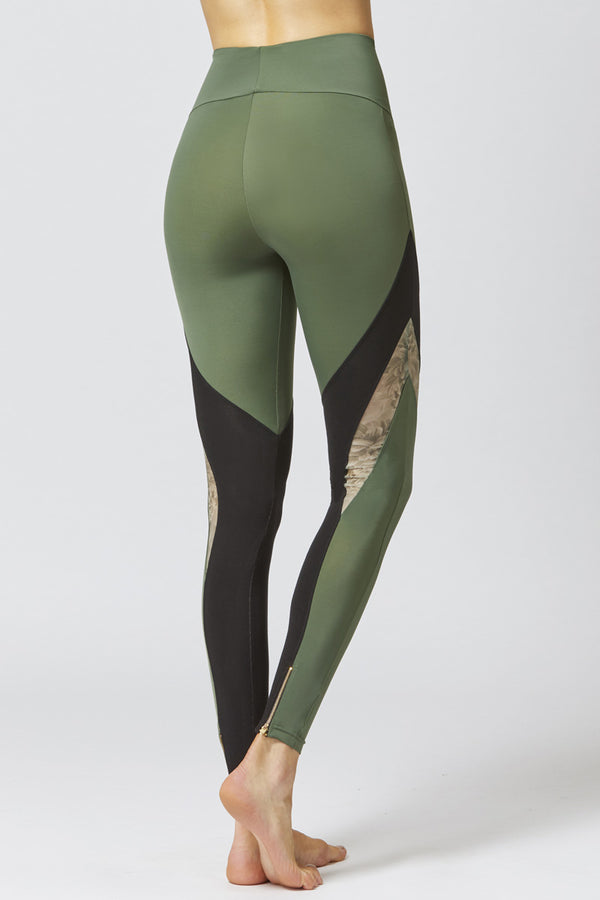 Medium Compression Leggings With Mesh V Inset Khaki