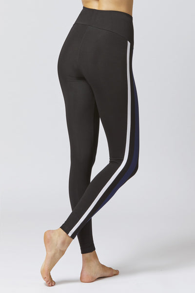 Medium Compression Leggings With Side Stripe Black