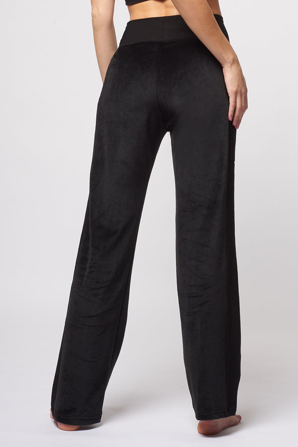 Velvet Loose Trackies with Pockets Black