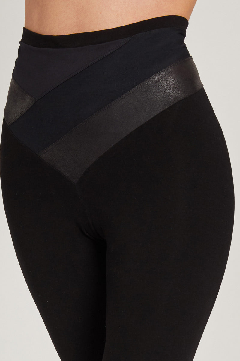 Medium Compression 7/8 Leggings with Mesh Panel High Waistband Black