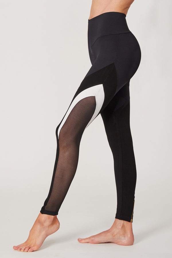 Medium Compression Leggings With Mesh V Inset Black