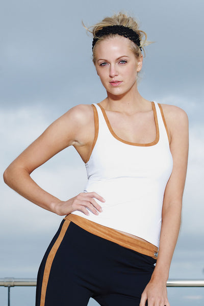 Gym Racer T-Back Sports Tank Vest Top White-Caramel