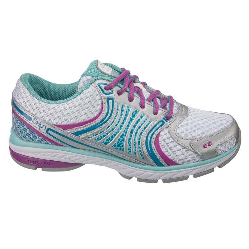 Women's Ryka Kora Running Trainers White-Aqua-Blue-Mauve