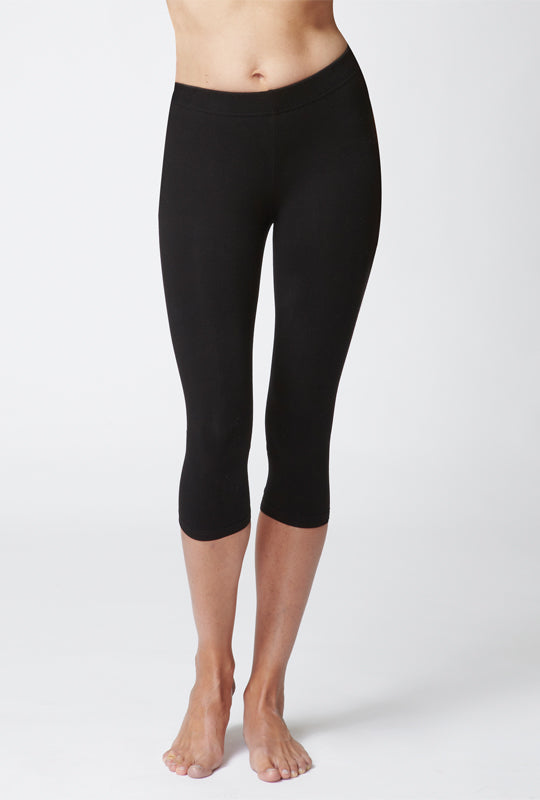 Medium Compression Cropped Leggings Black