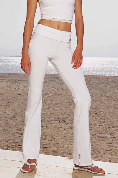 Yoga Roll Top Boot Cut Gym Bottoms White