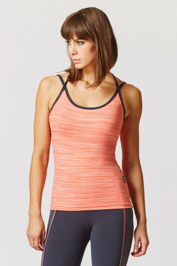 Yoga Triple Back Strap Fitted Vest Coral Space-Cream