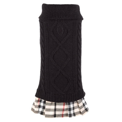Turtleneck Black/Tan Plaid Dress
