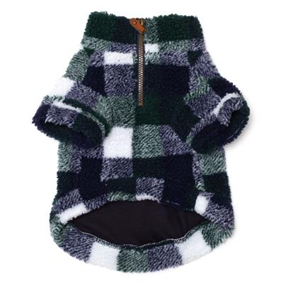 Hunter / Navy Plaid Sherpa Fleece for Dogs