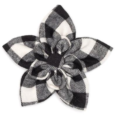 Black / White Buffalo Plaid Collar Bow