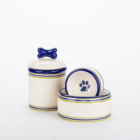 Blue Stripe Bowls & Treat Jars
