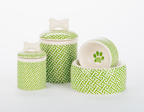 Green Trellis Bowls & Treat Jars