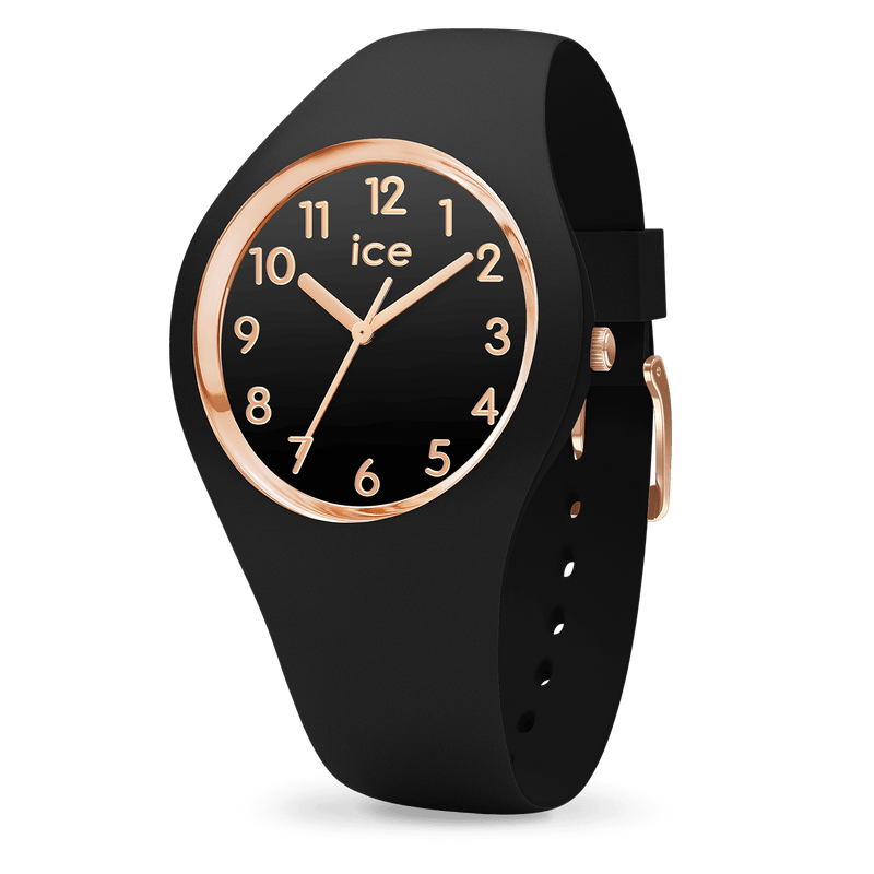 ICE WATCH Glam Collection Rose Gold Case 34mm (S) Black Dial Black Strap