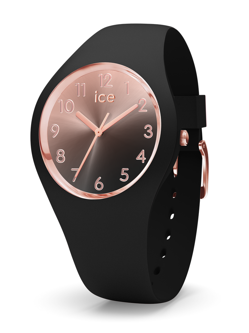 ICE WATCH Sunset Collection Rose Gold Case 34mm (S) Rose Gold Black Dial Black Strap