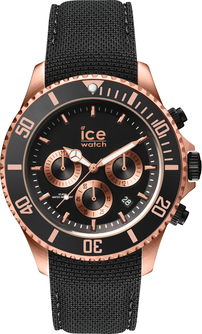 ICE WATCH Steel Collection Rose Gold Case 44mm (L) Black Dial Black Strap