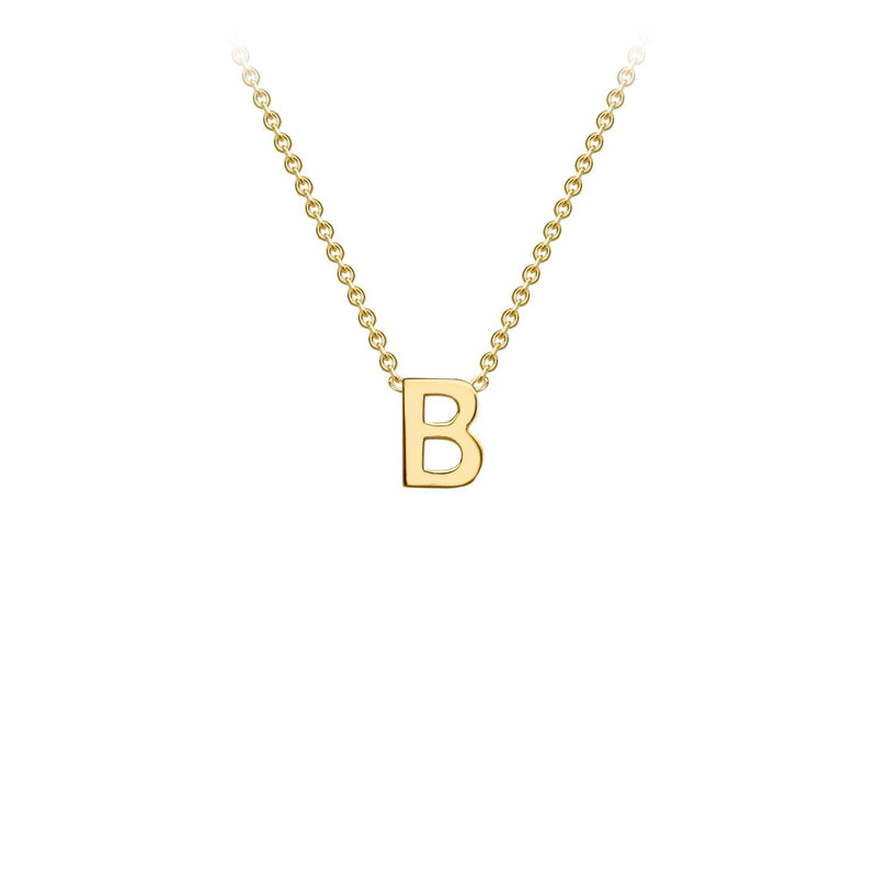 9K Yellow Gold 'B' Initial Adjustable Necklace 38cm/43cm | The Jewellery Boutique Australia