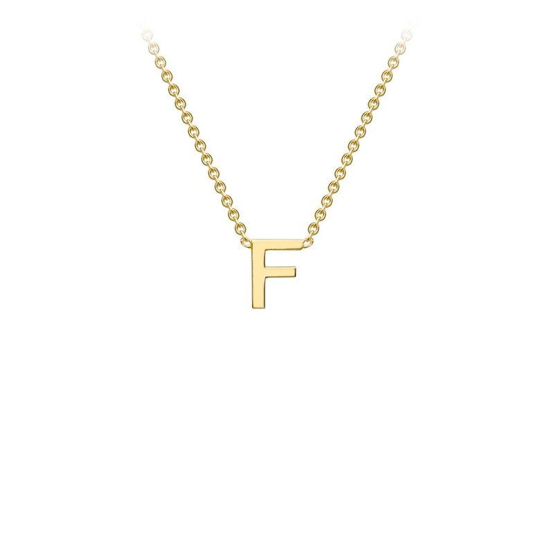 9K Yellow Gold 'F' Initial Adjustable Necklace 38cm/43cm | The Jewellery Boutique Australia