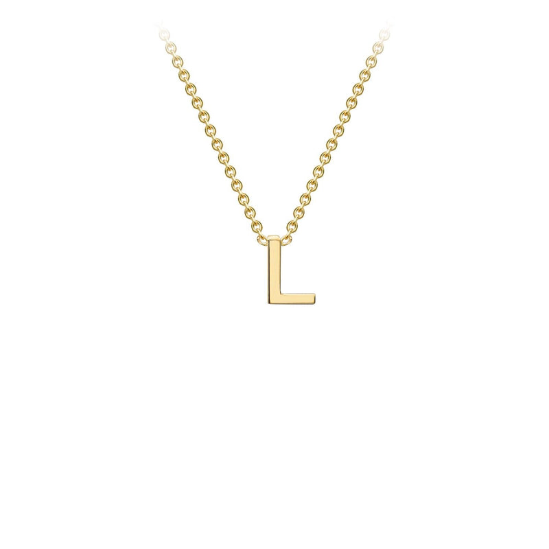 9K Yellow Gold 'L' Initial Adjustable Necklace 38cm/43cm | The Jewellery Boutique Australia