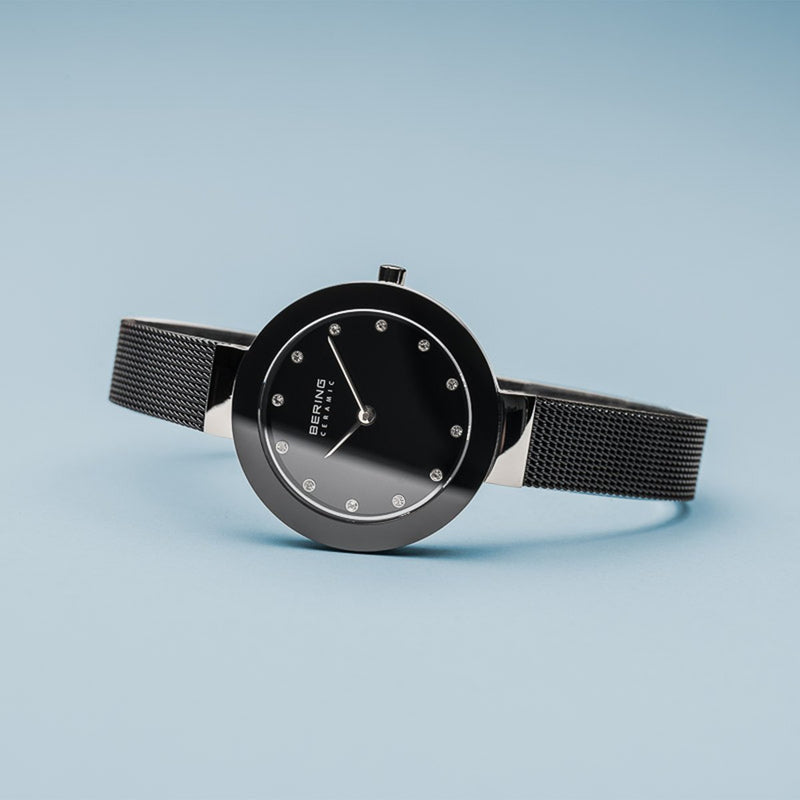 Bering Ceramic Polished Silver Slim Black Watch
