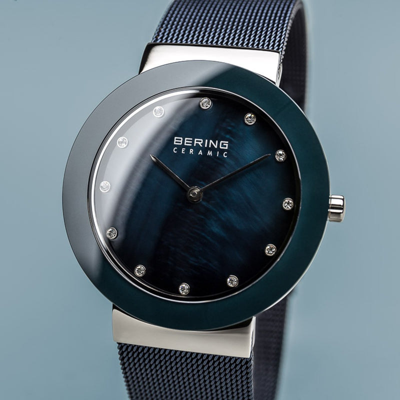 Bering Ceramic Polished Silver Arctic Blue Watch