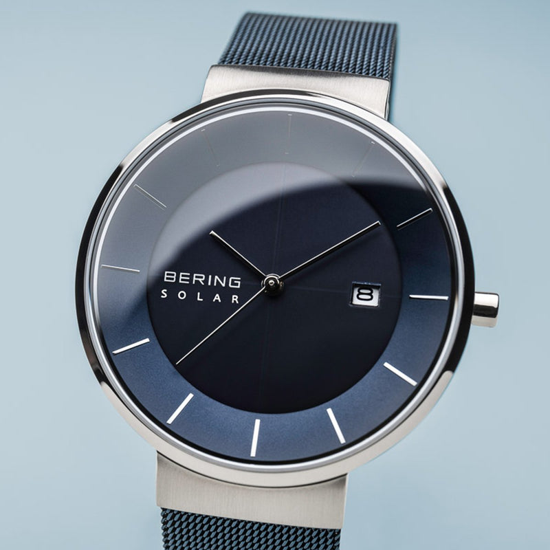 Bering Slim Solar Polished Silver Blue Mesh Watch