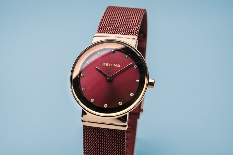 Bering Classic Polished Rose Gold Red Mesh Watch