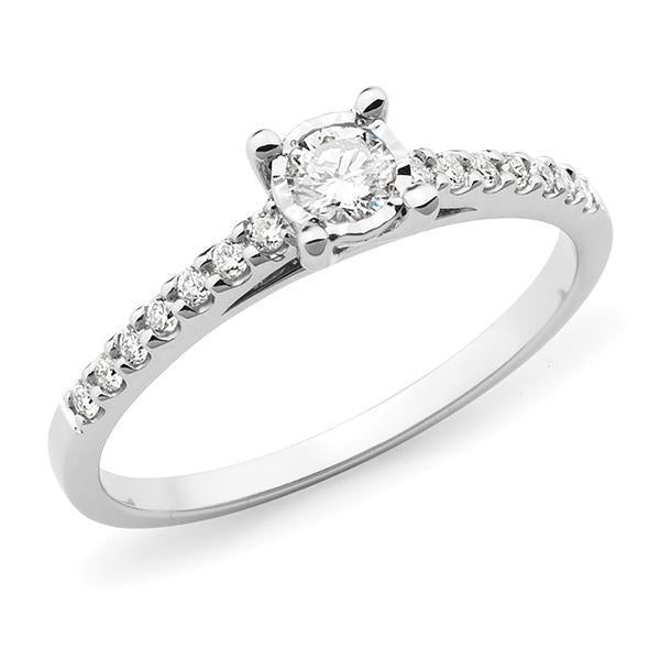 0.29ct Round Brilliant Cut Diamond Illusion Claw Set Engagement Ring in 9ct White Gold