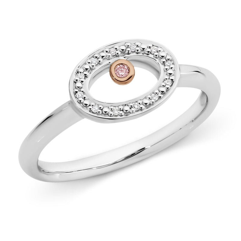 PINK CAVIAR 0.04ct Pink Diamond Ring in 9ct White & Rose Gold