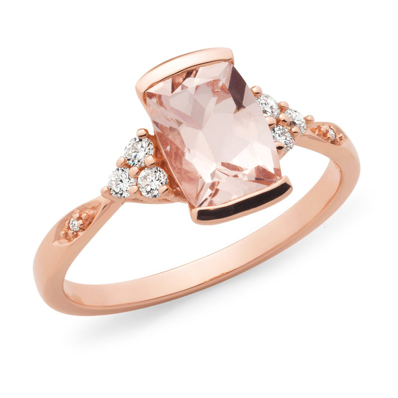 Morganite & Diamond End Set Dress Ring in 9ct Rose Gold