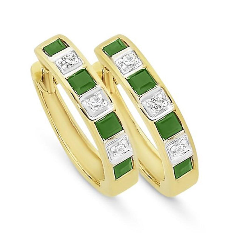 9Ct Gold Natural Emerald & Diamond Huggies