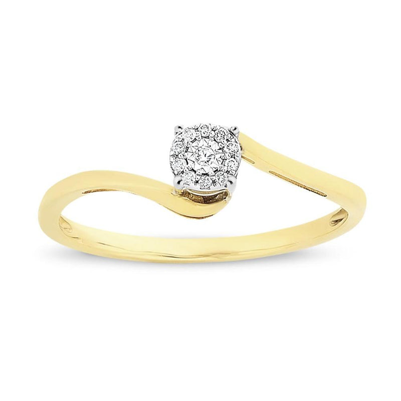 9Ct Gold Two Tone Diamond Ring