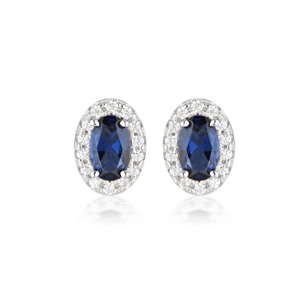 Georgini Aurora Glow Earrings Silver/Sapphire