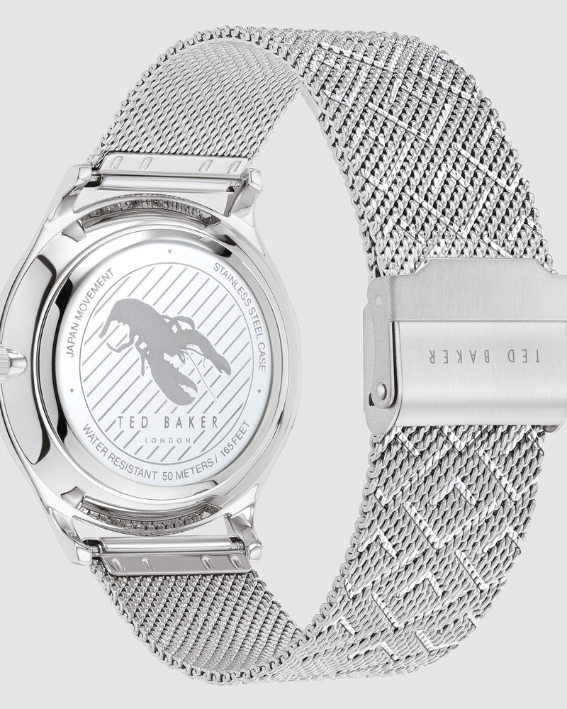 Ted Baker Manhatt Silver Mesh Black Watch